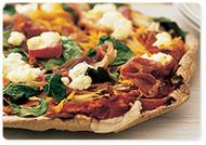 Prosciutto, pumpkin and spinach pizza